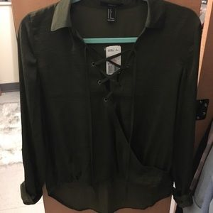 Lace up satin blouse